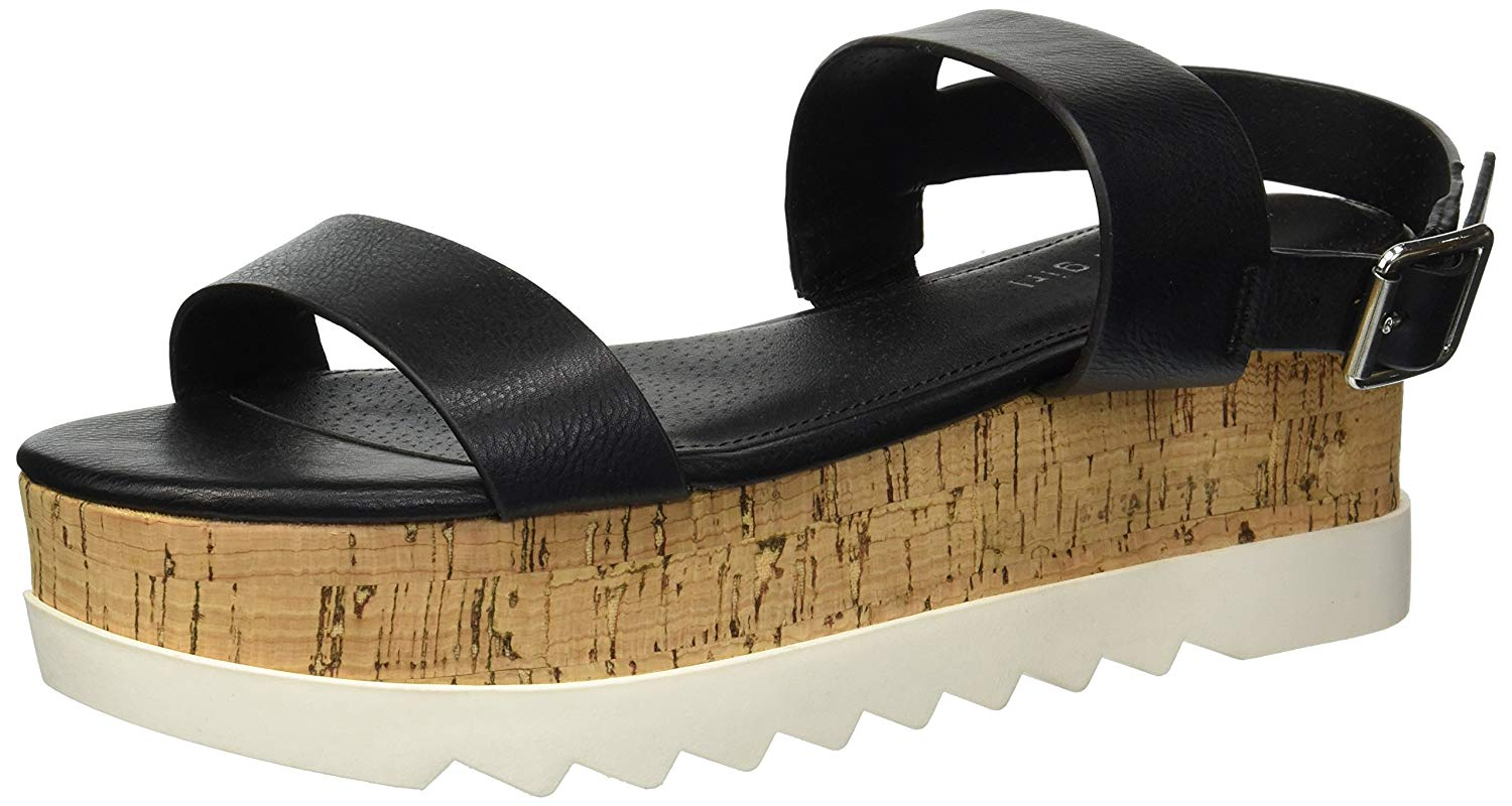 ba515b7426 Madden Girl Women's Sugarr Wedge Sandal, Black Paris, Size 10.0 ...