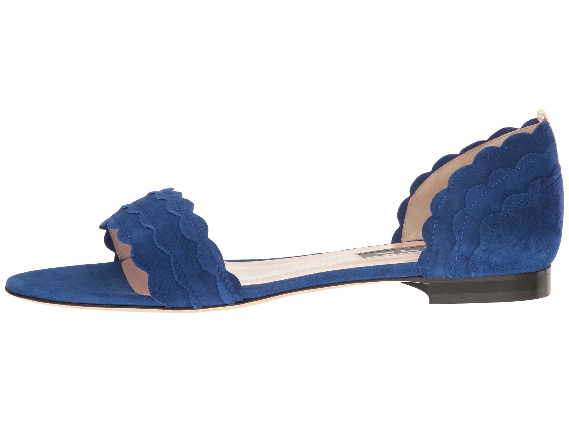 SJP by Sarah Jessica Parker Damenschuhe Bobbiefla Open Toe, Blau Suede, Größe 7.0 GYt6