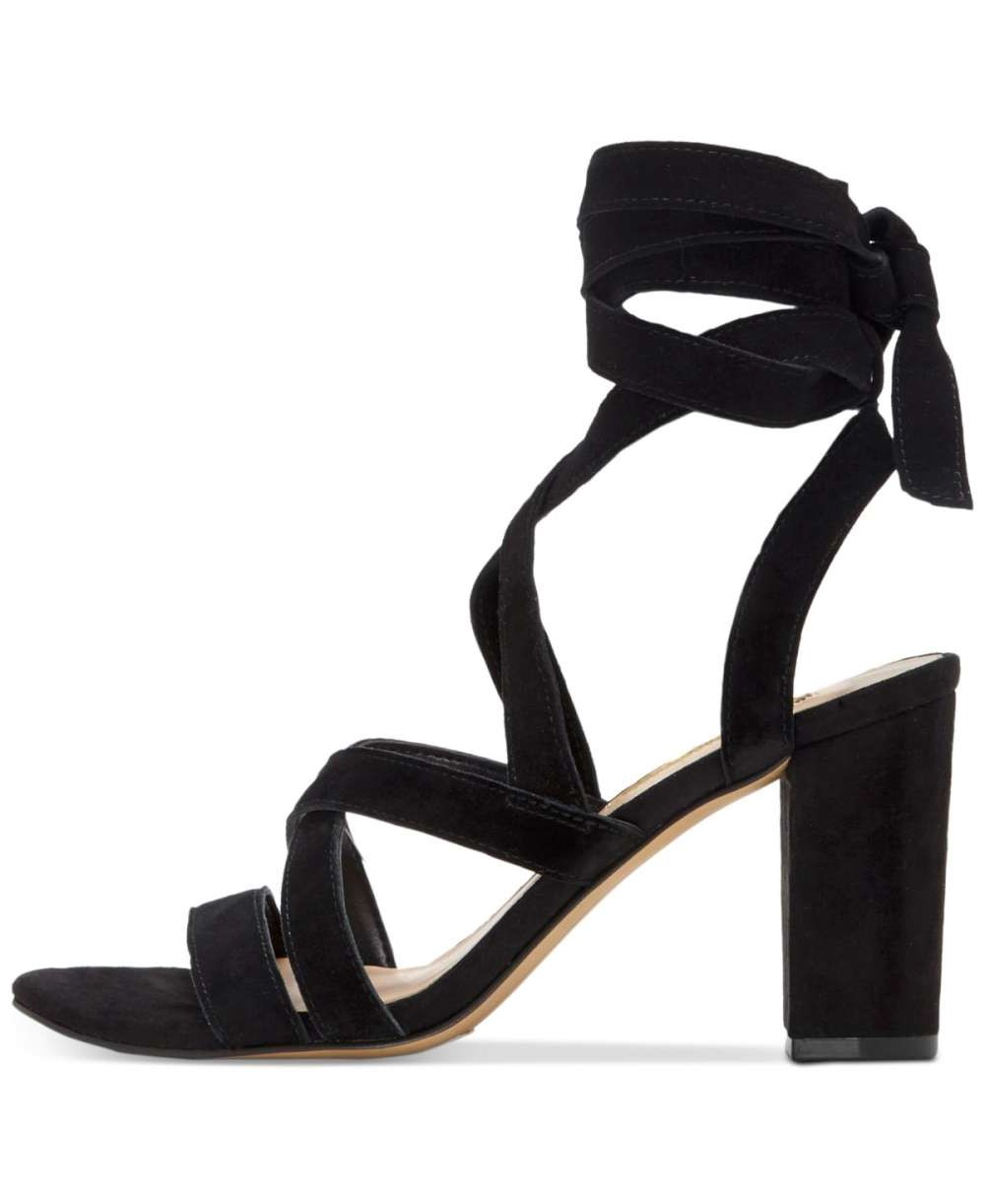 INC International Concepts Womens Kailey Leather Open Toe Heeled Sandals Black Suede Size 7.5 US
