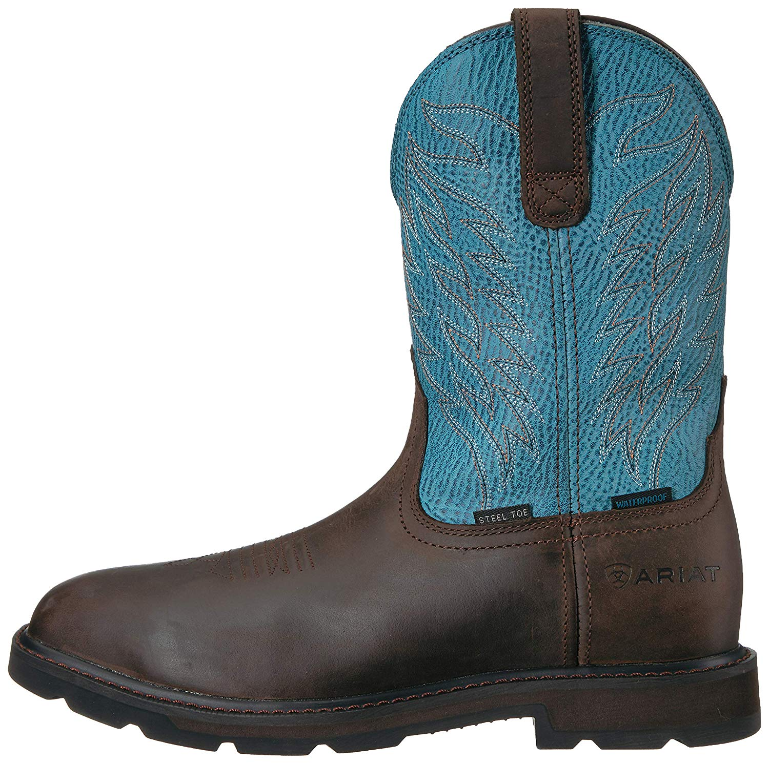 9bff4882a82 Details about Ariat Men's Groundbreaker Wide Square H2O Steel Toe, Dark  Brown/Blue, Size 14.0