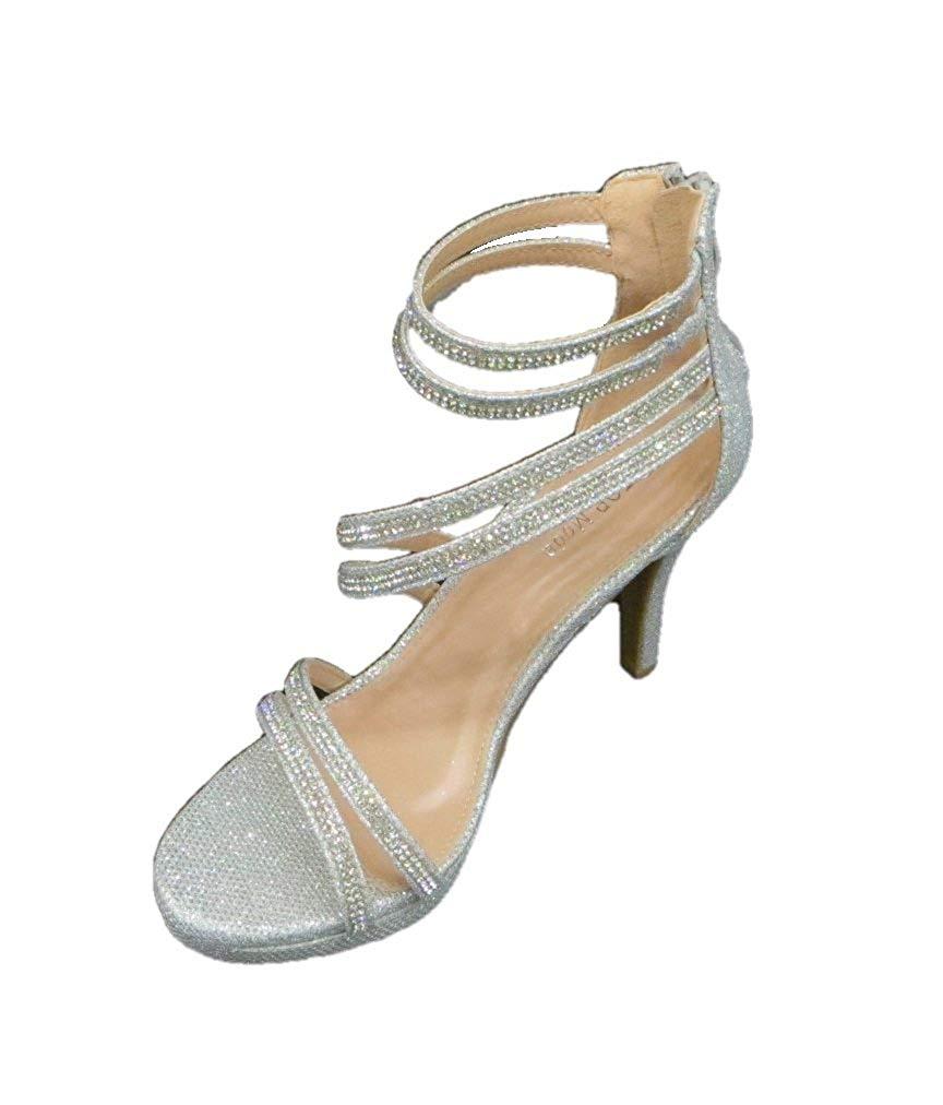 Détails sur Femmes Top Moda Sandales À Talon Couleur Métallique Silver Taille 35.5 EU 5 U