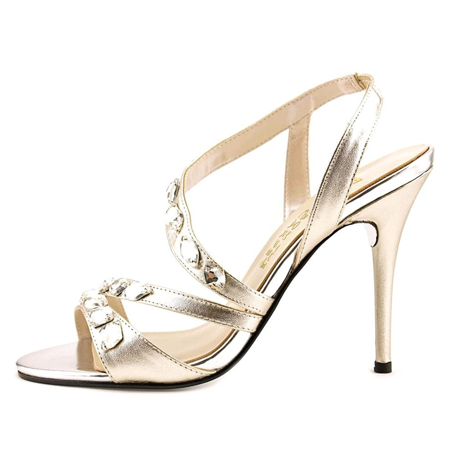 E Live From The Red Carpet Womens Goldee Open 9.5 Toe Ankle Platino Size 9.5 Open ee4d7d