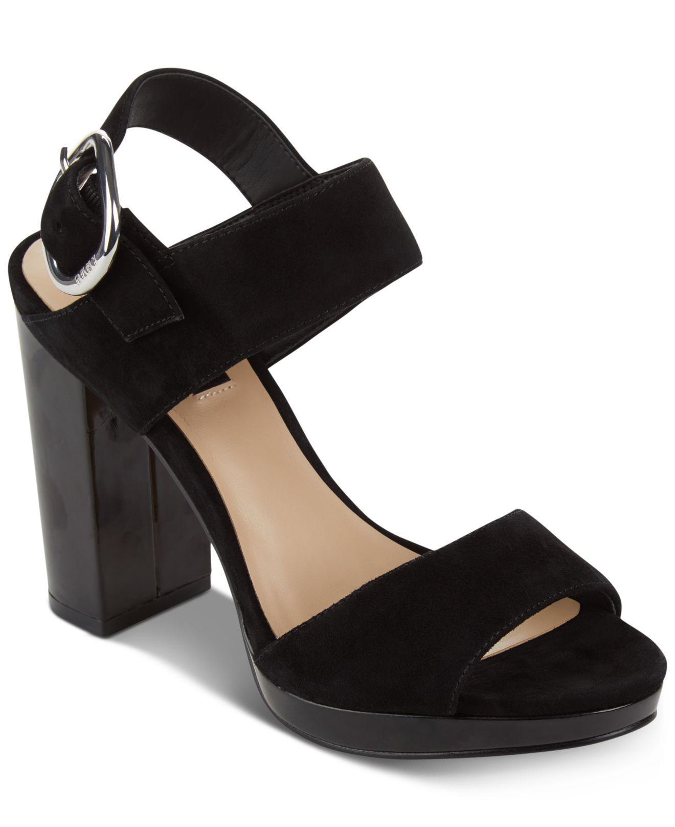 DKNY Women Bell Open Toe Casual Leather Slingback Sandals Black Size 8 US