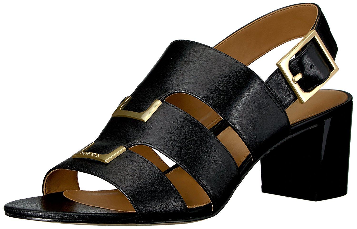 0b5d3fe213cc Calvin Klein Womens Neda Leather Open Toe Casual Strappy Sandals