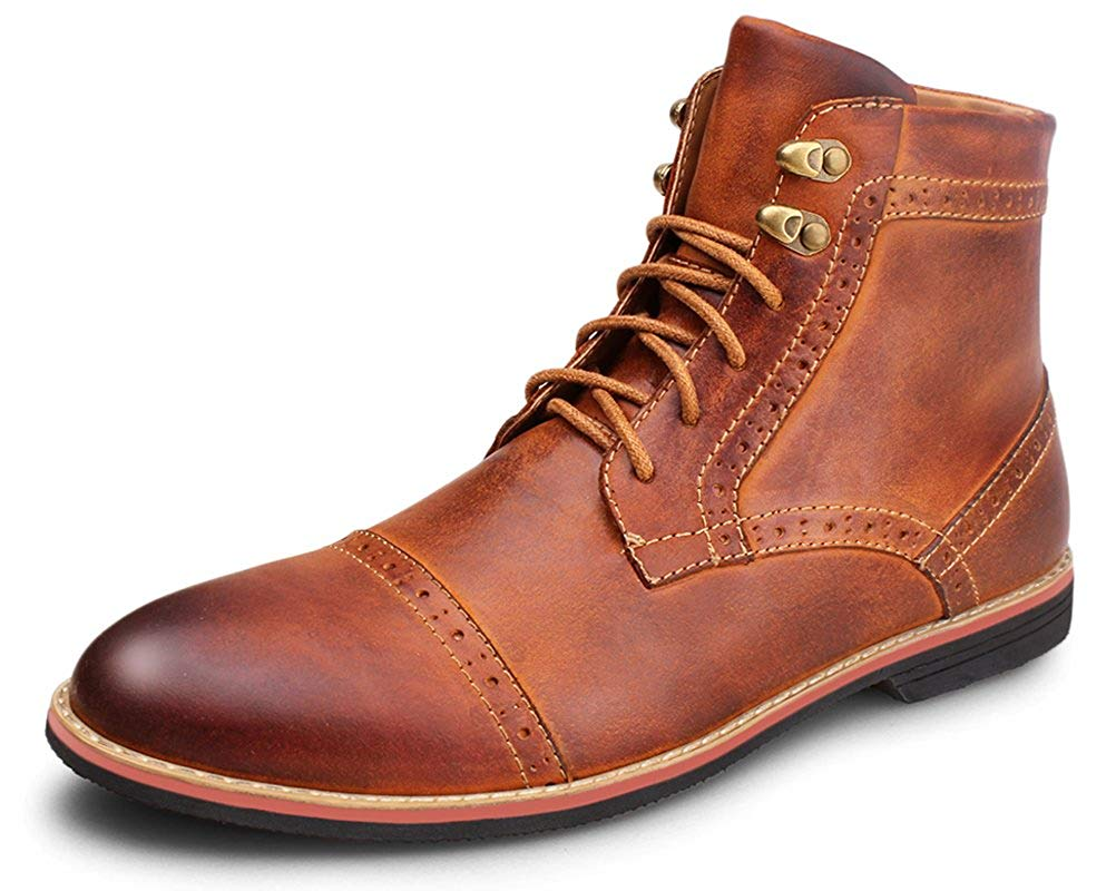 Kunsto Men's Leather Classic Brogue Boots, Brown, Size 8.0 E