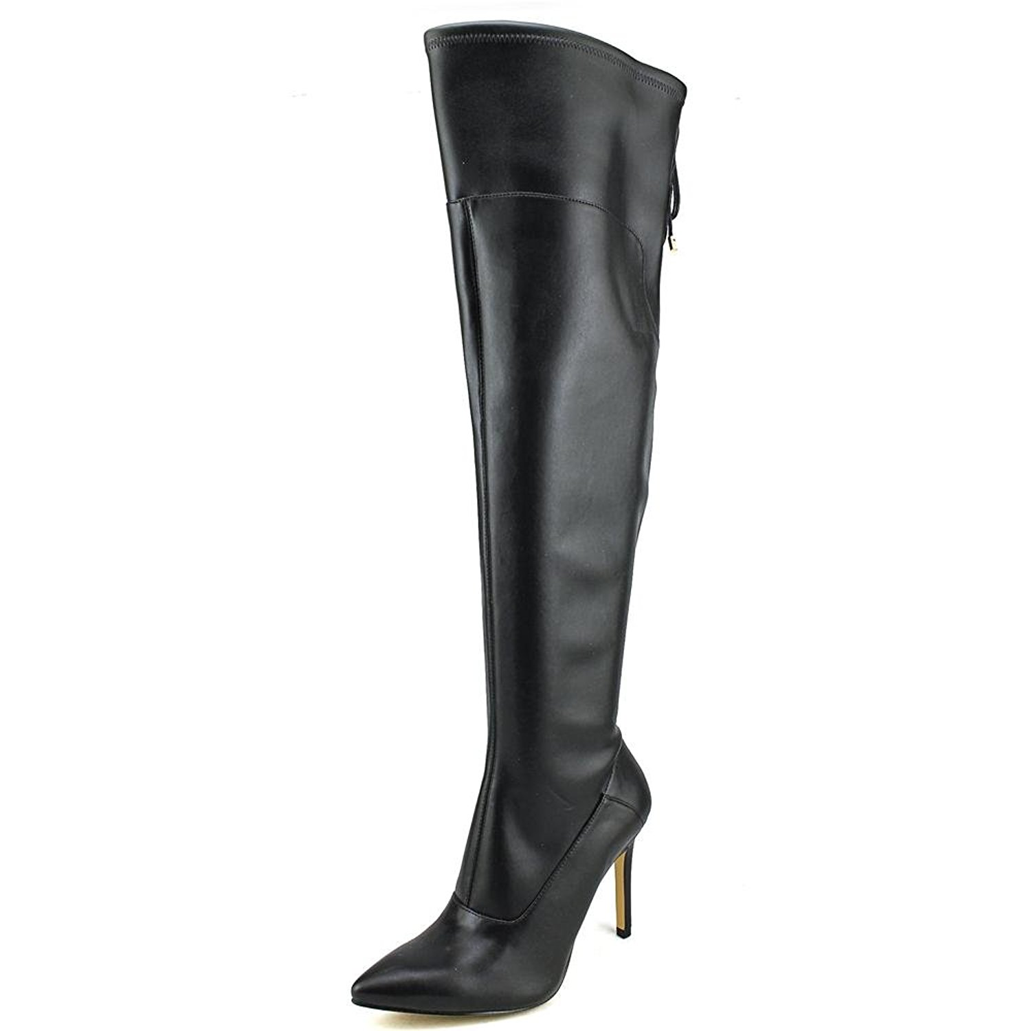 Guess Women's Valerine Pointed Toe Synthetic Black Over the Knee Boot Black Synthetic Size 8.5 0c5456