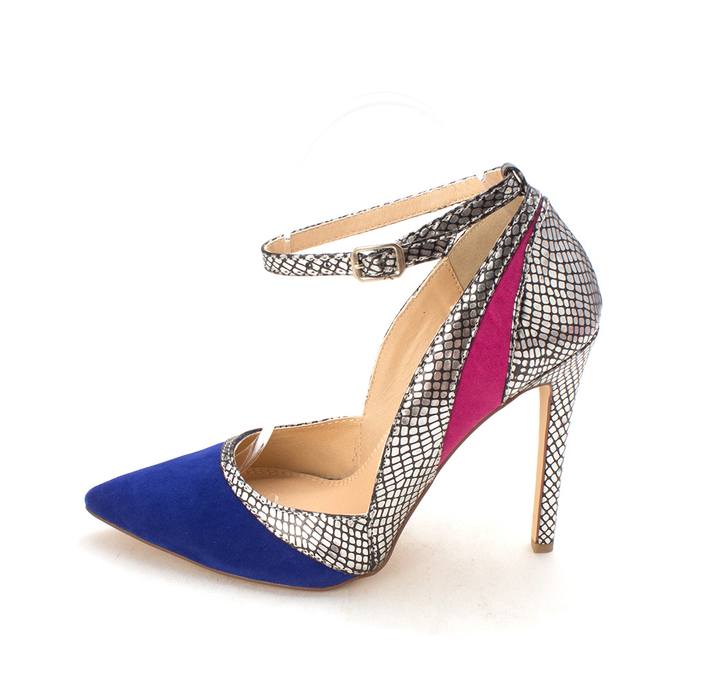 ShoeDazzle Womens Shivani Pointed Toe Ankle Strap Cobalt/Pewter Size 7.5