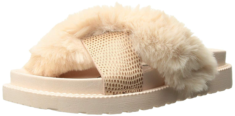 Sam Edelman Womens Bianca Faux Fur Open Toe Casual Slide Sandals ... 4c41be0ba7