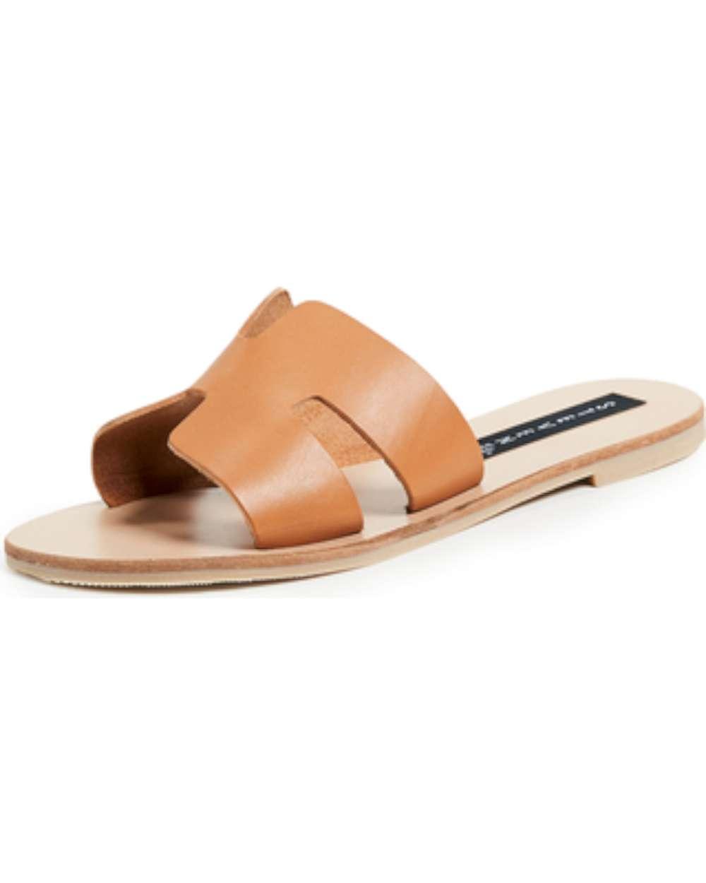 664529eedff3 STEVEN by Steve Madden Womens Greece Leather Open Toe Casual Slide Sandals