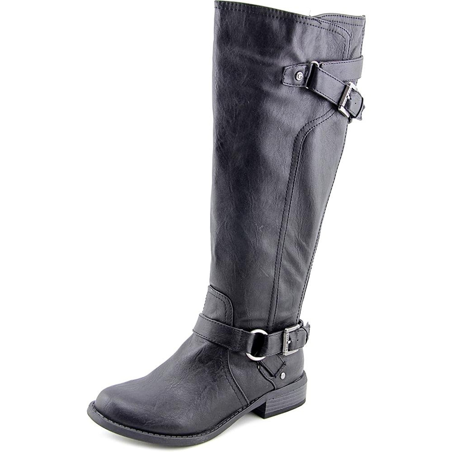 G by Guess Womens HING WIDE CALF Round Toe Knee High Riding Black WC Size 7.0
