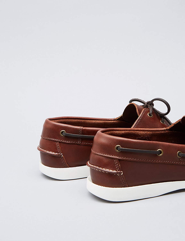 7e43a28b65841 Details about Amazon Brand - find. Men's Boat Shoes, Brown (Cognac), Size  8.0