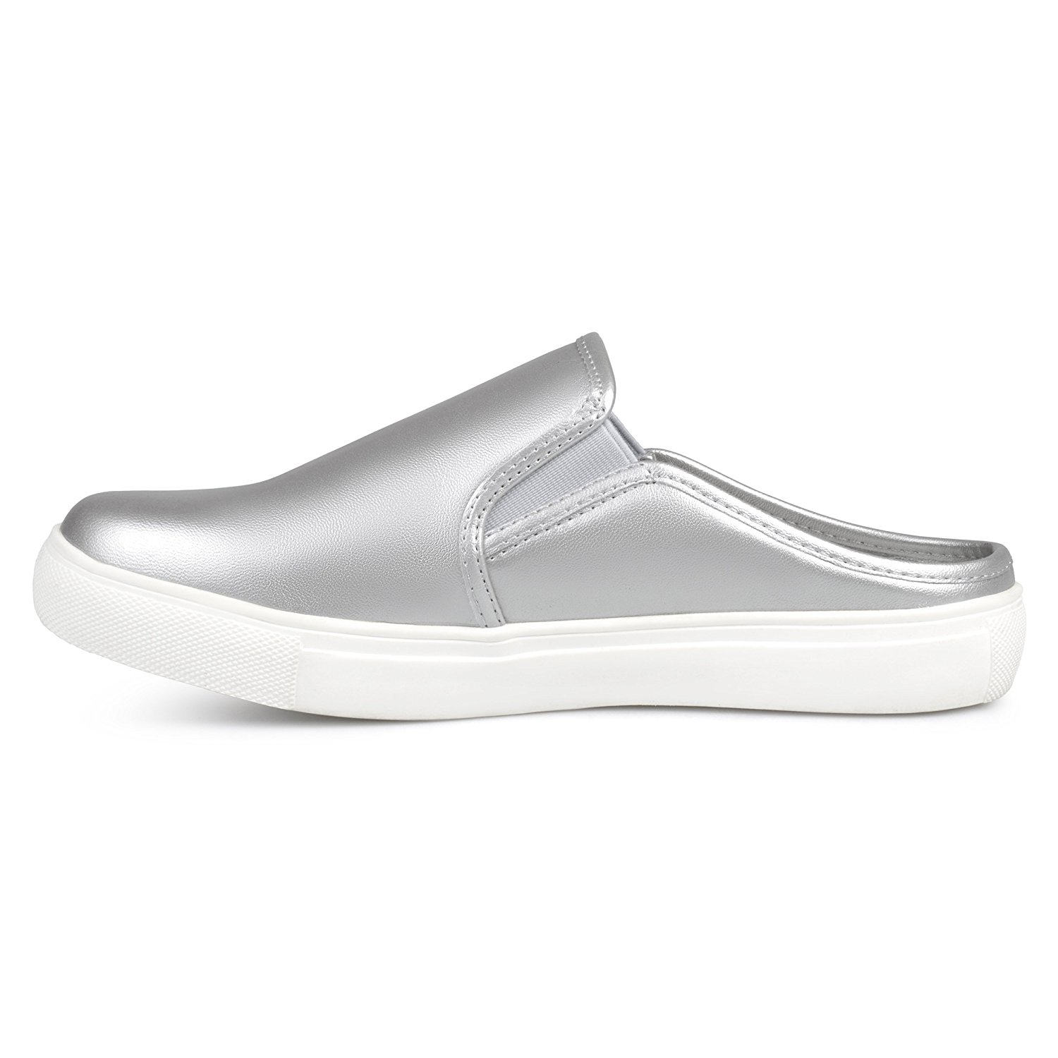 Brinley Co Womens Wells Faux Leather Round Toe Casual Sneaker Silver Size 9.0
