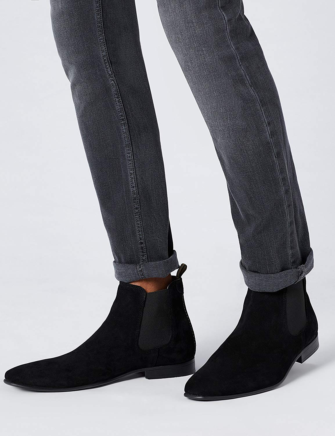 606c0997677fe Details about Amazon Brand - find. Men's Albany Formal Suede Chelsea Boots,  Black, Size 11.5 Y