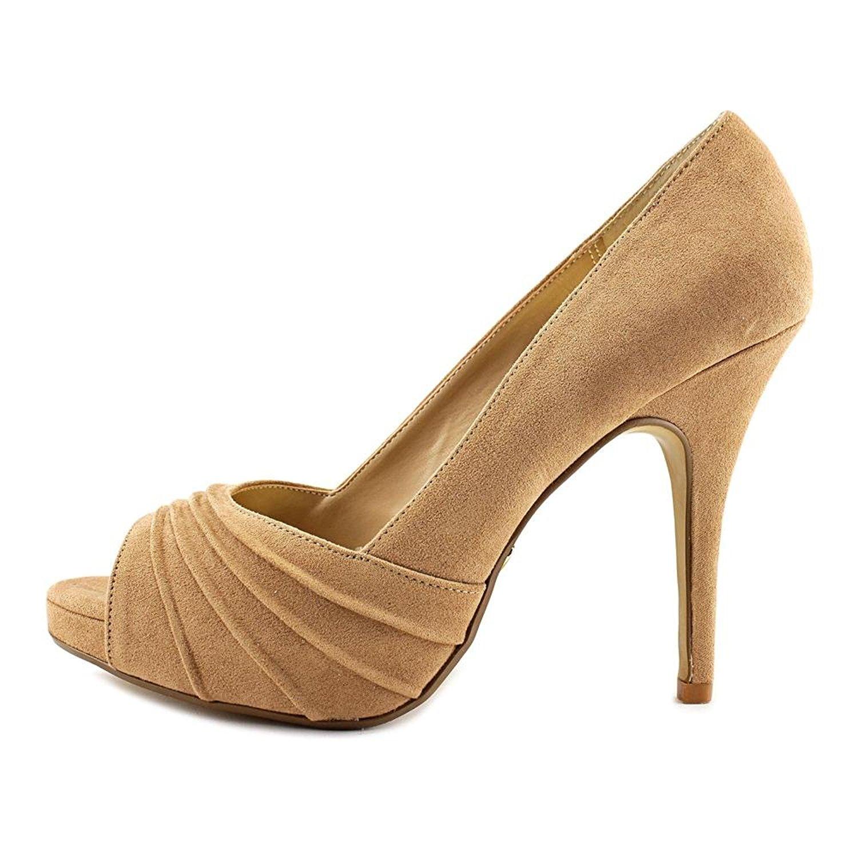 Thalia Sodi Womens Cereza Peep Toe Classic Pumps White Snake Size 5.5