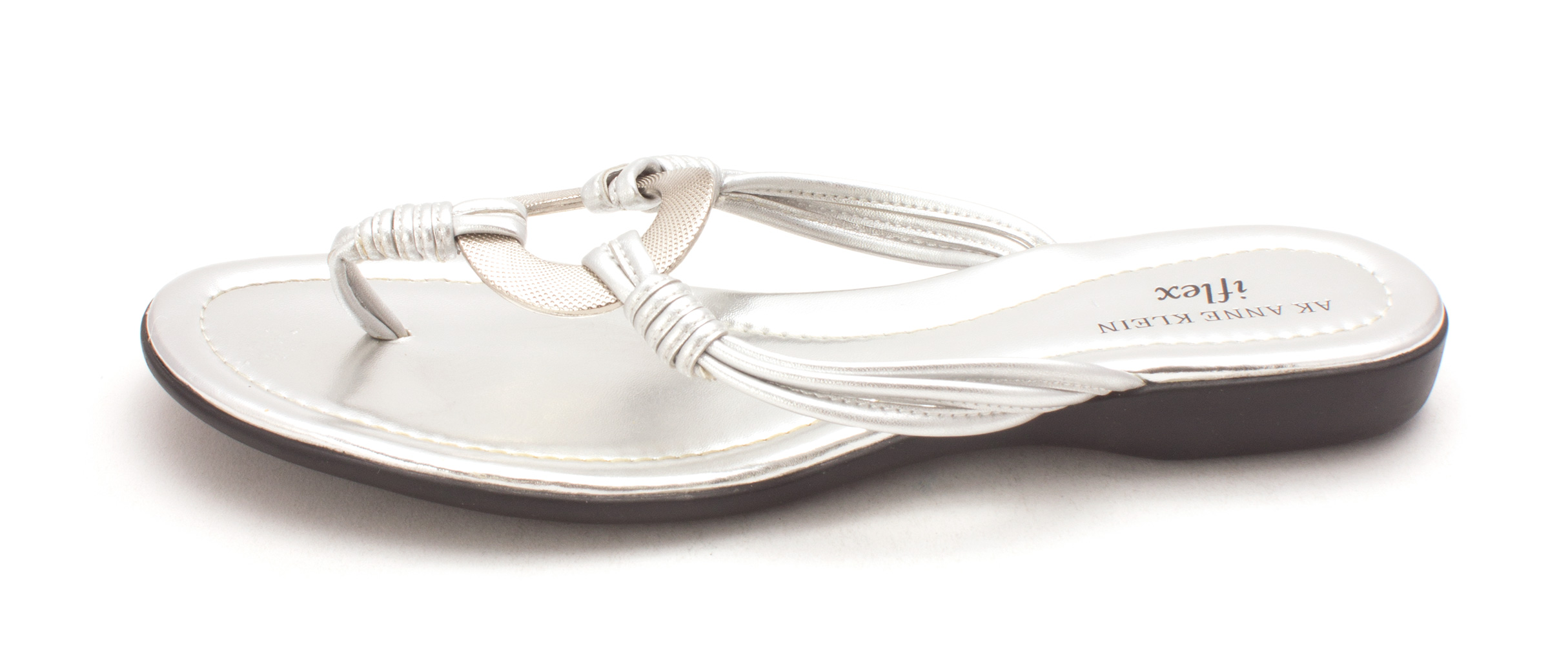Anne Klein Womens Voice Split Toe Casual TStrap Sandals Silver Sy Size 90