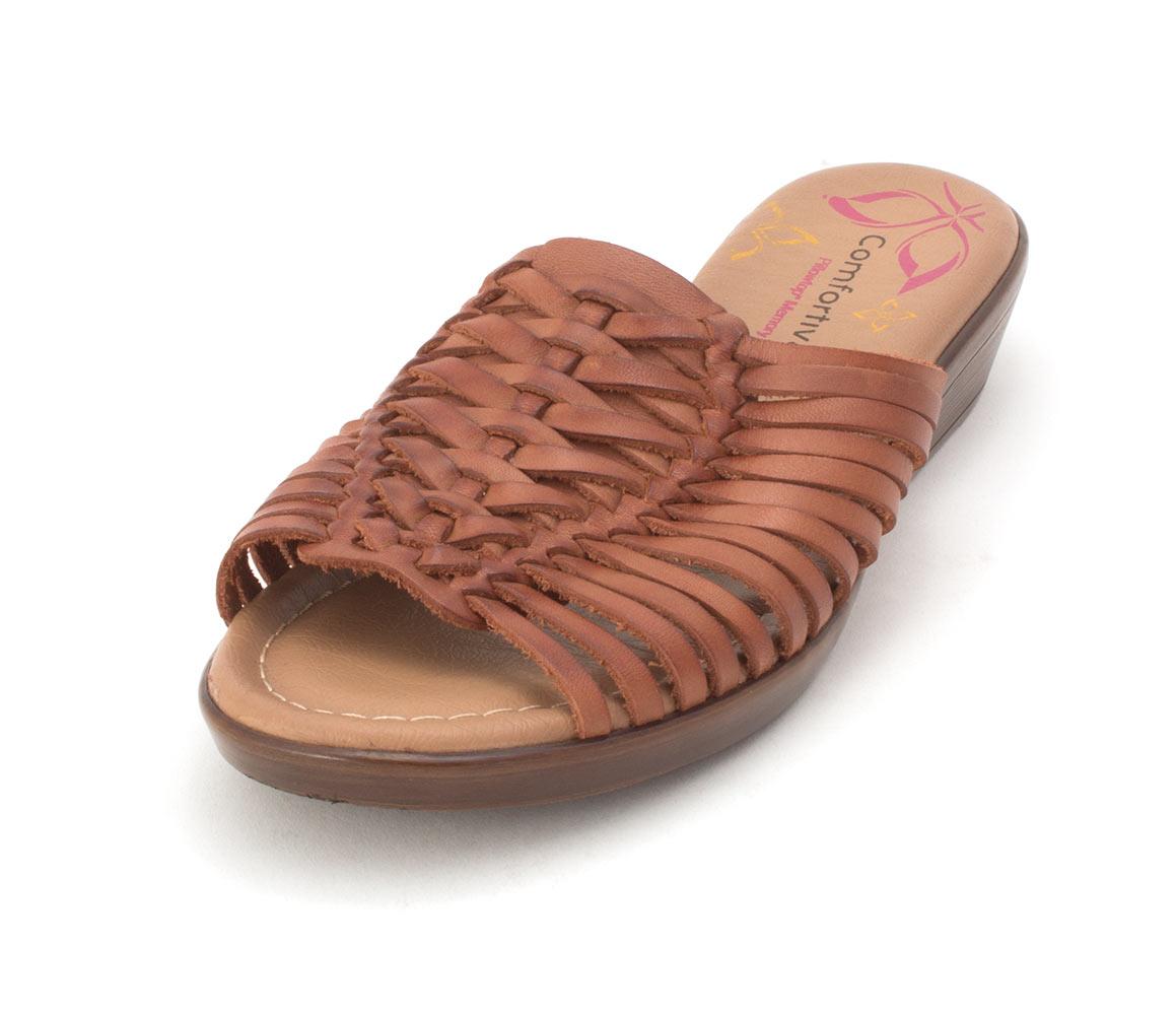 White Comfortiva Womens Felida Leather Open Toe Casual Slide Sandals Size 9.5