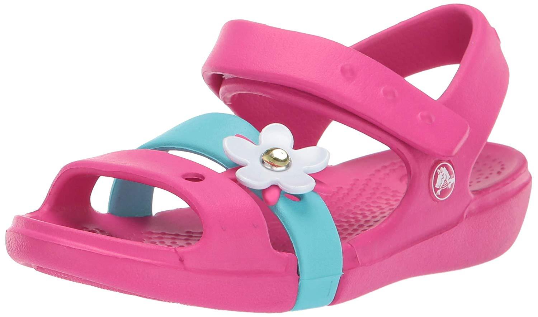 f1c5983405 Details about Crocs Kids' Girls Keeley Charm Sandal, Candy Pink, Size 5.0  Iqb3