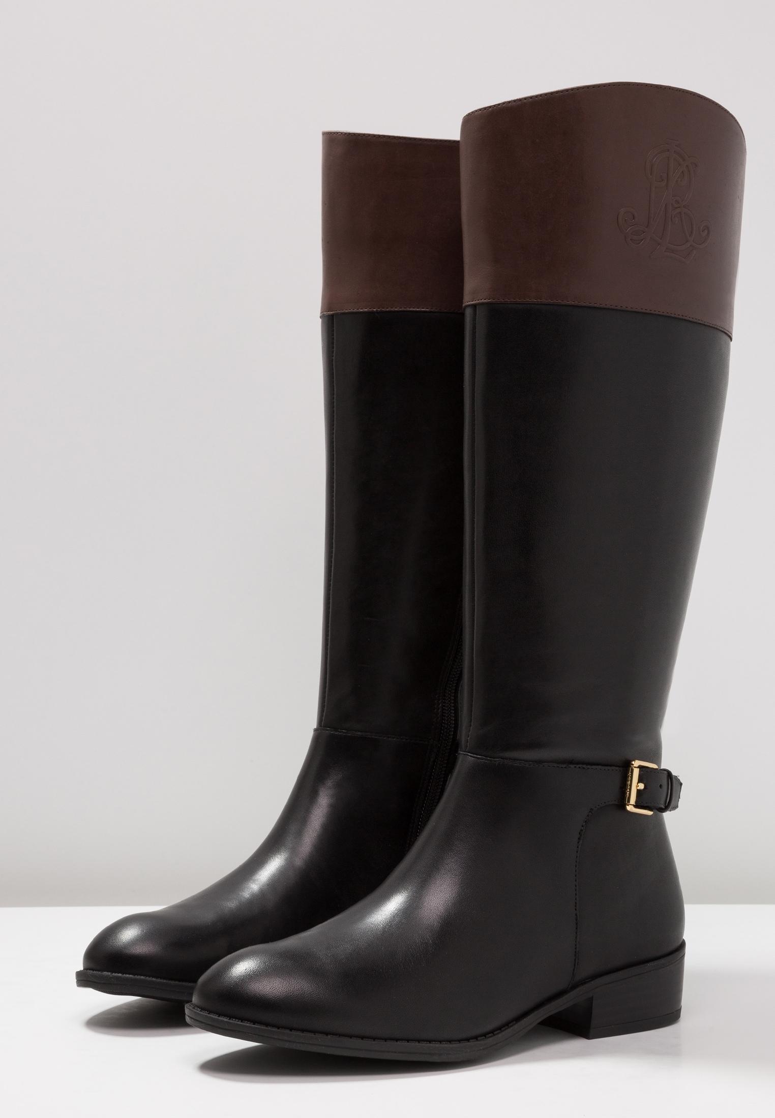 8c055334f91812 Lauren by Ralph Lauren Frauen Madisen Pumps rund Leder Fashion Stiefel  Schwarz G