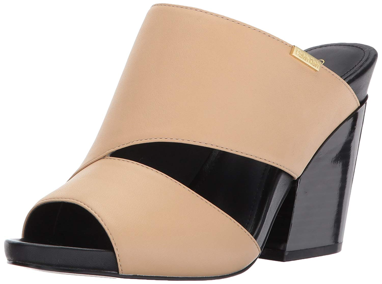 21cd9bb6d206 Calvin Klein Womens Efa Cervo Leather Open Toe Casual Slide Sandals ...