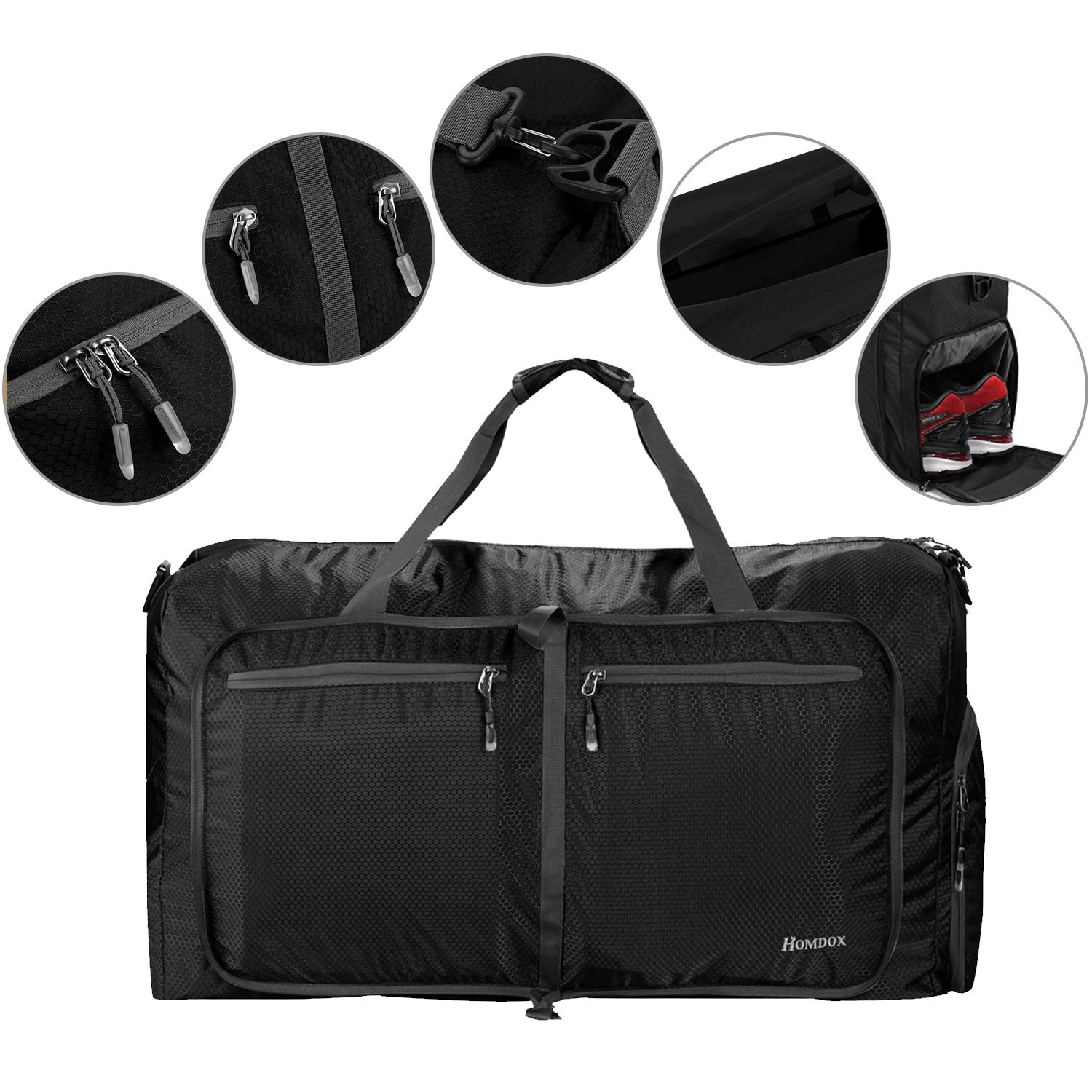 53d7a89c1fee Details about Homdox 80L Large Duffle Bag for Men Women,Waterproof, Black,  Size X-Large