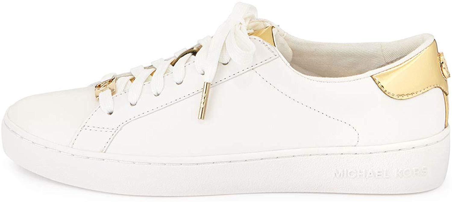 Details about Michael Michael Kors Womens Irving Lace Up Leather, Optic WhiteGold, Size 11.0