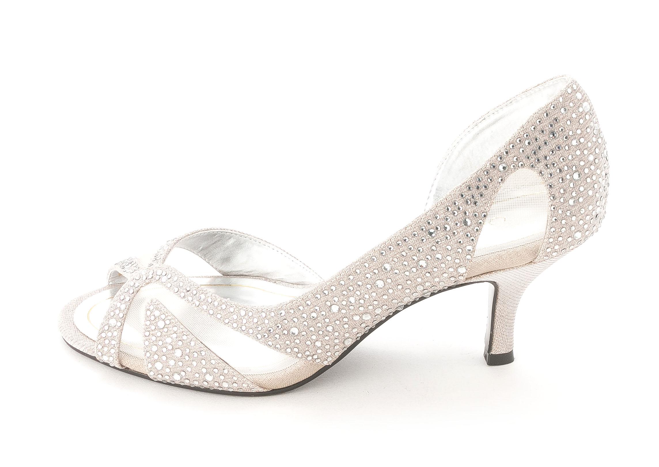 Caparros Womens ZOFIA Open Toe Dorsay Pumps Silver Glimmer Size 8.0