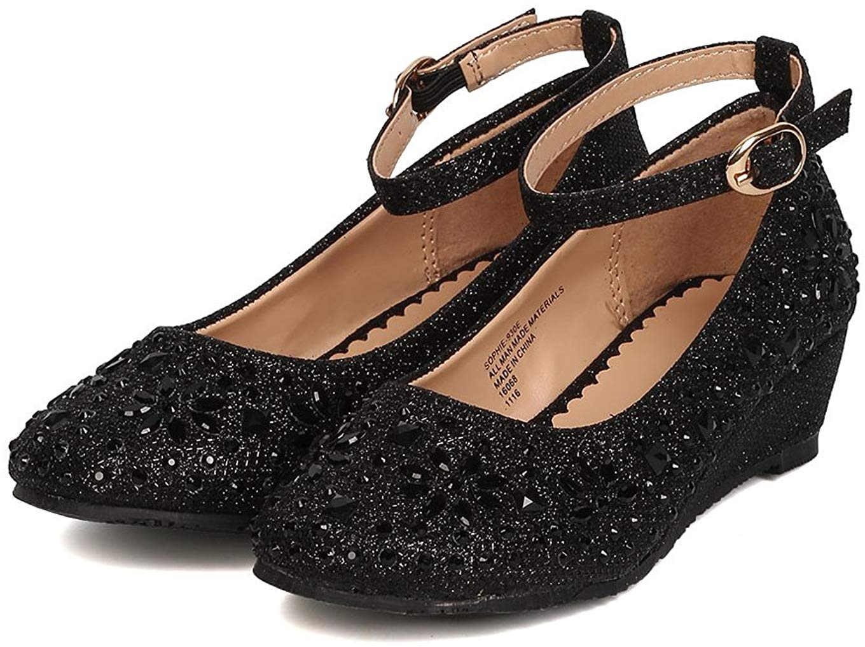 Little Angel Girls Glitter Rhinestone Wedge, Black,  Size Li