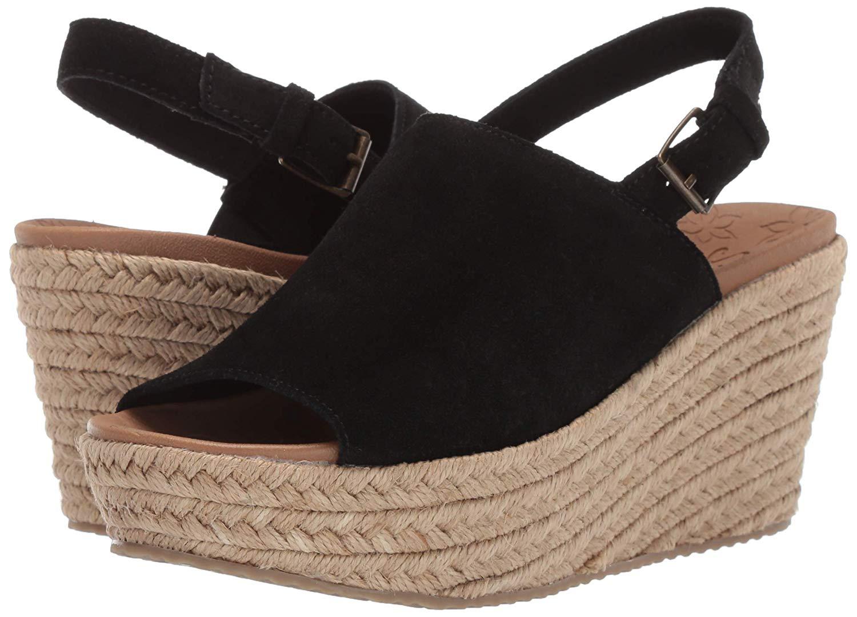 Skechers-Women-039-s-Brit-High-Wedge-Suede-Sling-Back-Sandal-Black-Size-11-0-5mJF