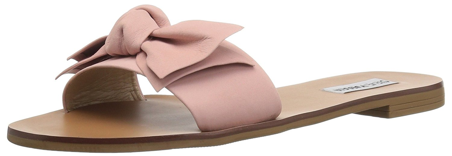 b5788fb38be Details about Steve Madden Womens Knotss Leather Open Toe Casual Slide  Sandals
