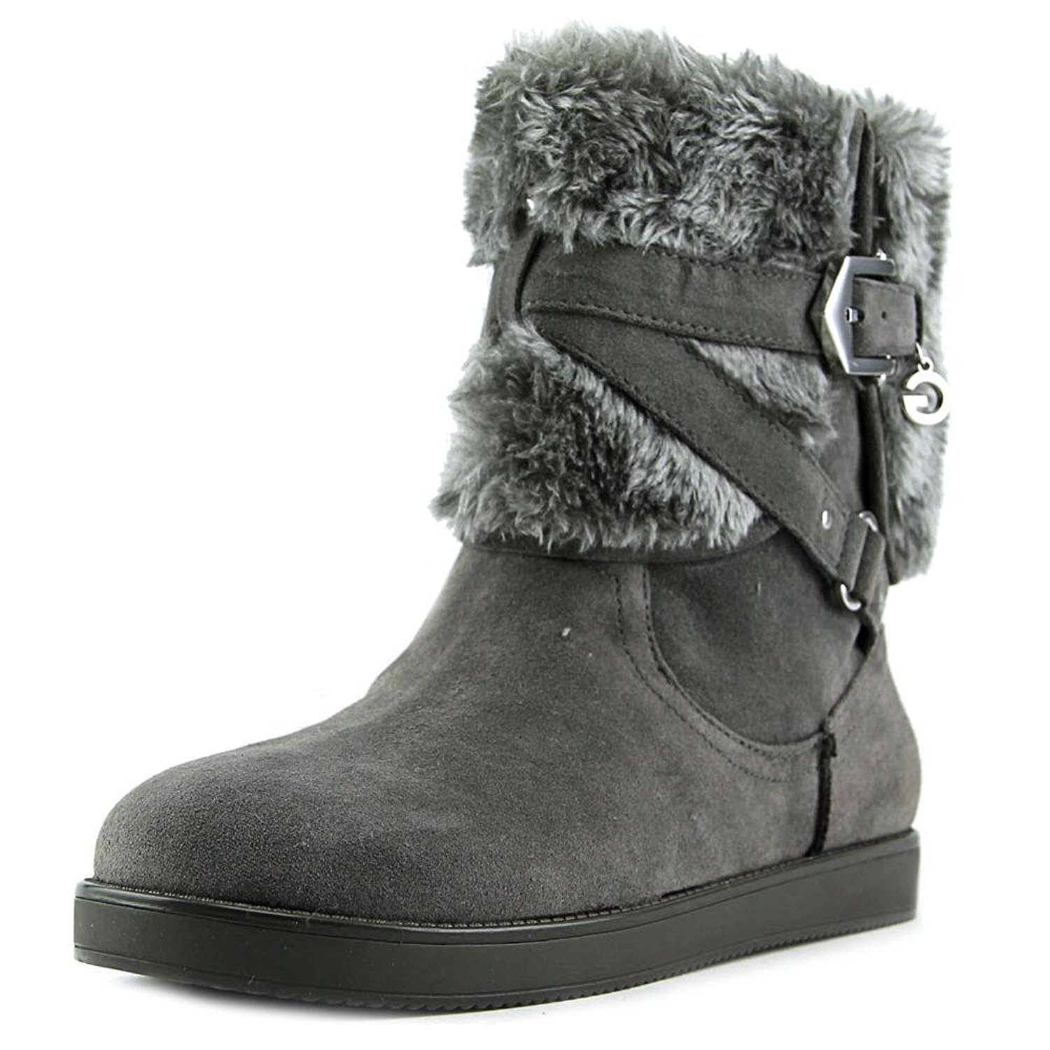G by Guess Womens ALIXA Faux Fur Round Toe Ankle Cold Gray Multi Size 5.5