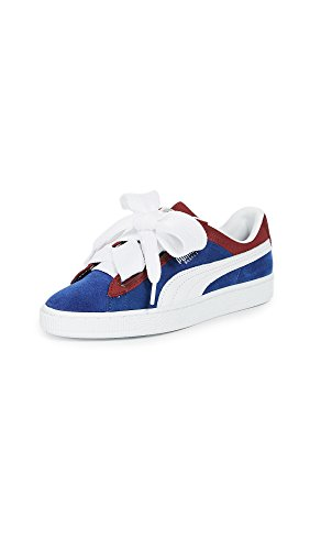ec6ead789721be Puma Womens Basket Heart Glitter Leather Low Top Lace Up Fashion Sneakers