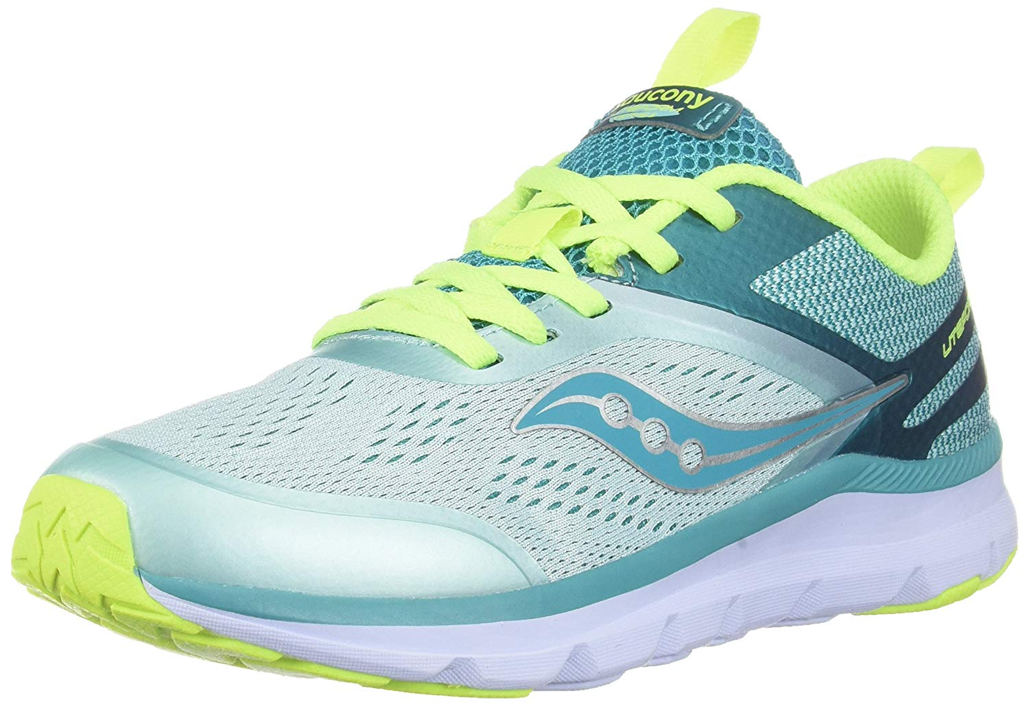 Details about Kids Saucony Girls Liteform Miles Fabric Low Top Lace Up, TurqCitron, Size 7.0