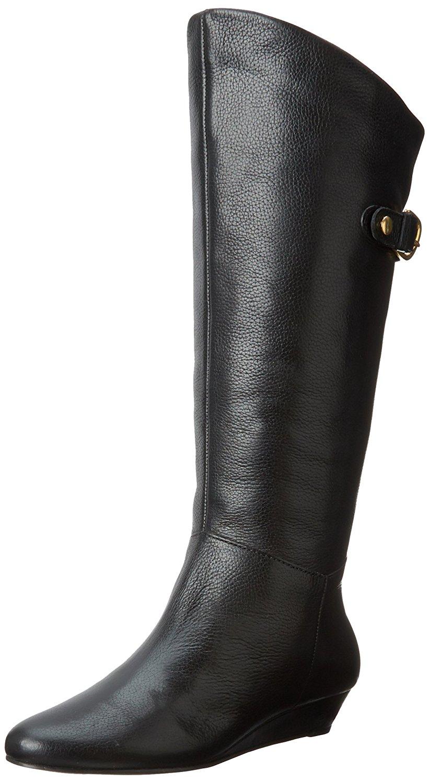 STEVEN by Steve Madden Womens Inntense Leather Almond Black Leather Size 5.0
