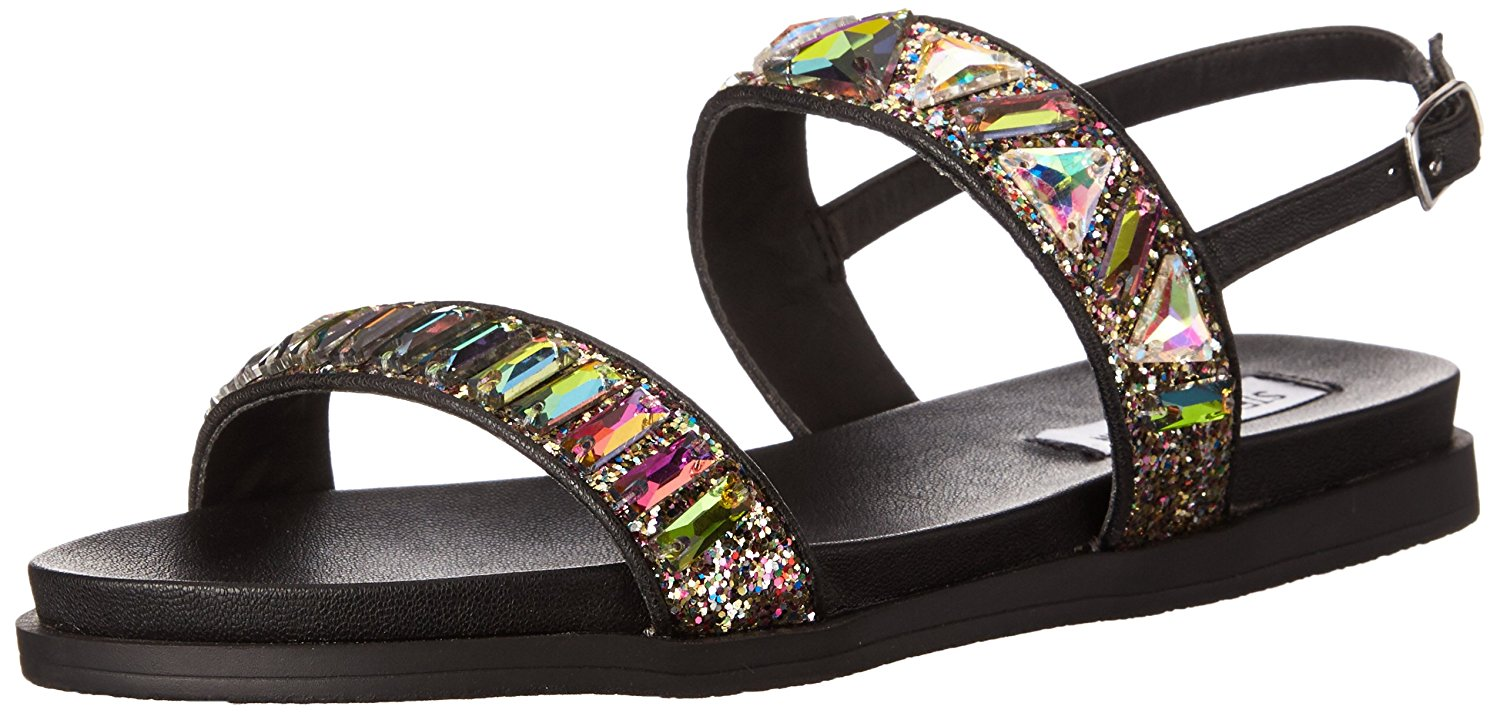 Steve Madden Womens Feastt Open Toe Beach Slide Sandals Bright Multi Size 8.0