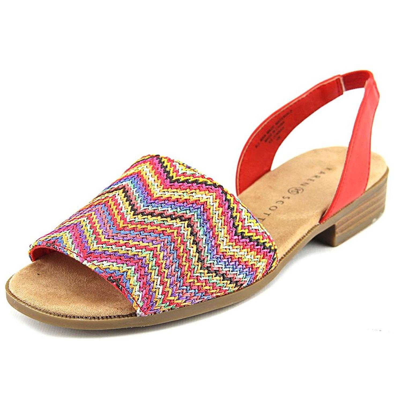 Karen Scott Womens JONNAH Peep Toe Casual Slide Sandals Poppy Multi Size 5.0