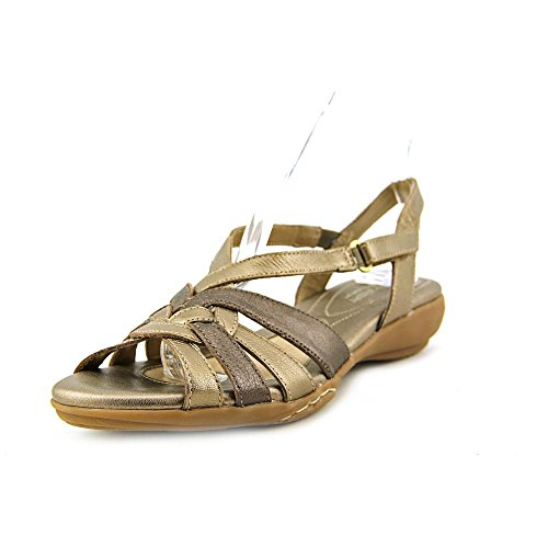 Naturalizer Womens convince Leather Open Toe Casual Ankle Strap Gold Size 9.5