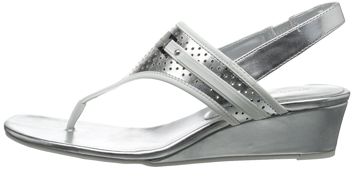 BCBGeneration Womens Jessie Open Toe Casual Slingback White/Silver Size 8.5 Et
