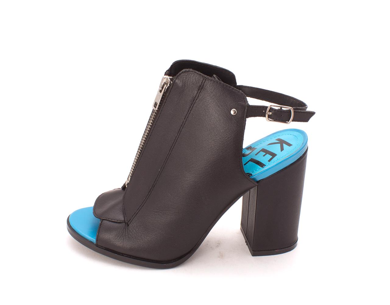 Kelsi Dagger Womens Giulia Leather Open Toe SlingBack Classic Black Size 8.5