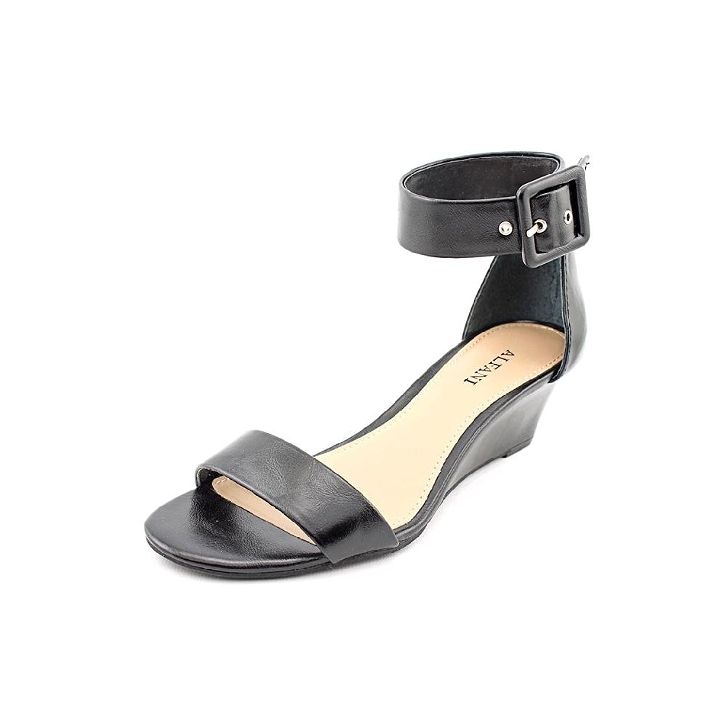 Alfani Womens KYRAH Open Toe Casual Ankle Strap Sandals Black Smooth Size 60