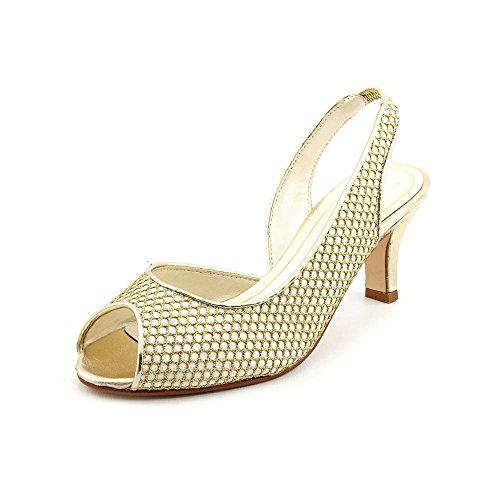Caparros Womens Juanita Peep Toe SlingBack Dorsay Pumps Gold Ivory Size 6.0 X