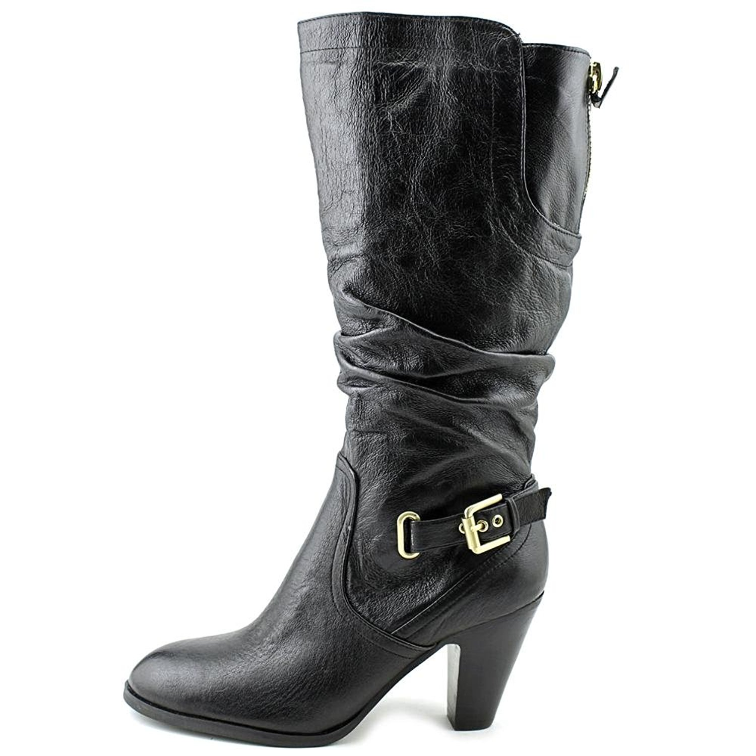 GUESS Womens Mallay Leather Almond Toe MidCalf Fashion Boots Black Size 11.0