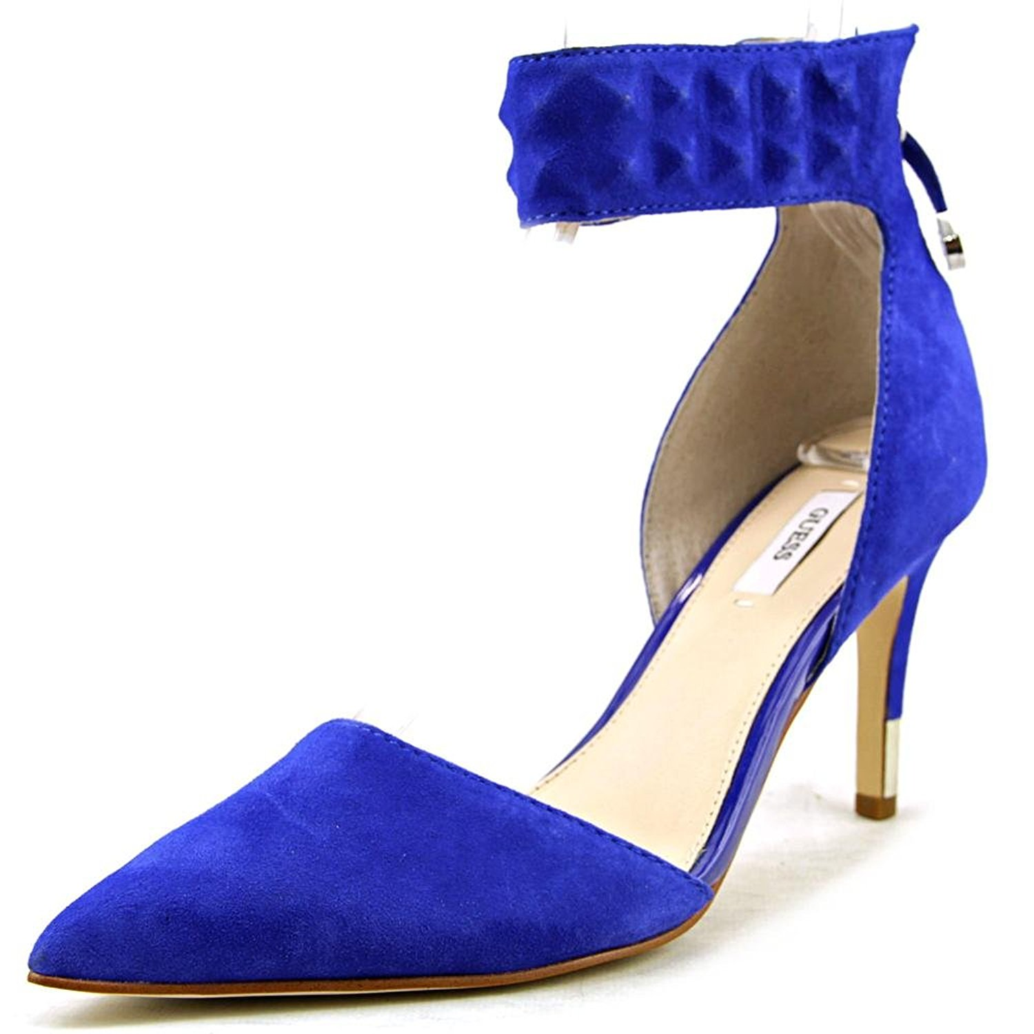 GUESS Womens Evanne Leather Pointed Toe Ankle Strap Dorsay Blue Size 10.0 ksi