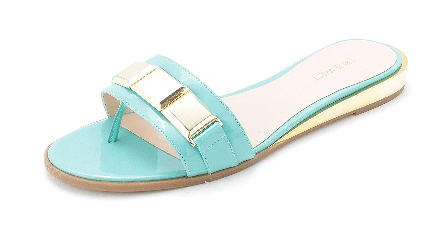 Nine West Womens XTINA Open Toe Casual Slide Sandals Turquoi SY Size 60