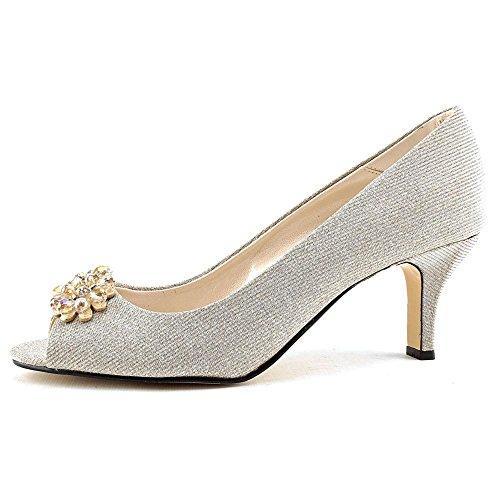 Caparros Womens MARISSA GLITTER Peep Toe Classic Pumps Nude Glitter Size 8.5 1