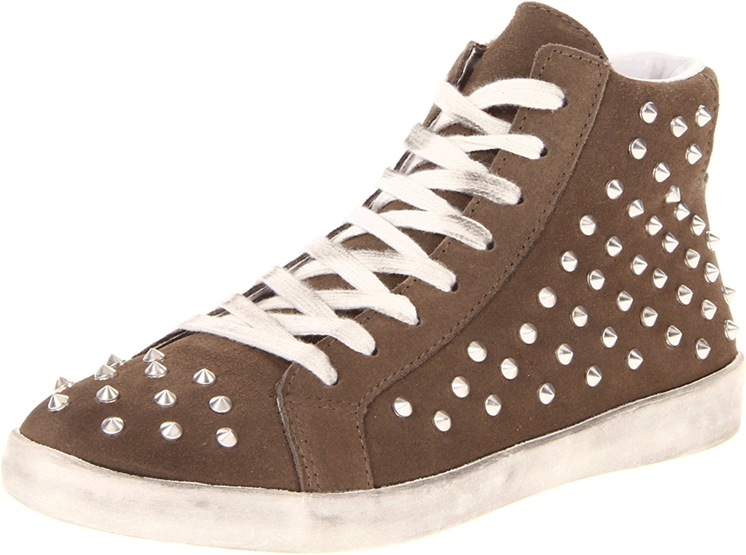 Steve Madden Women's Twynkle Distressed Studded Sneaker Taupe Suede Size 7.5