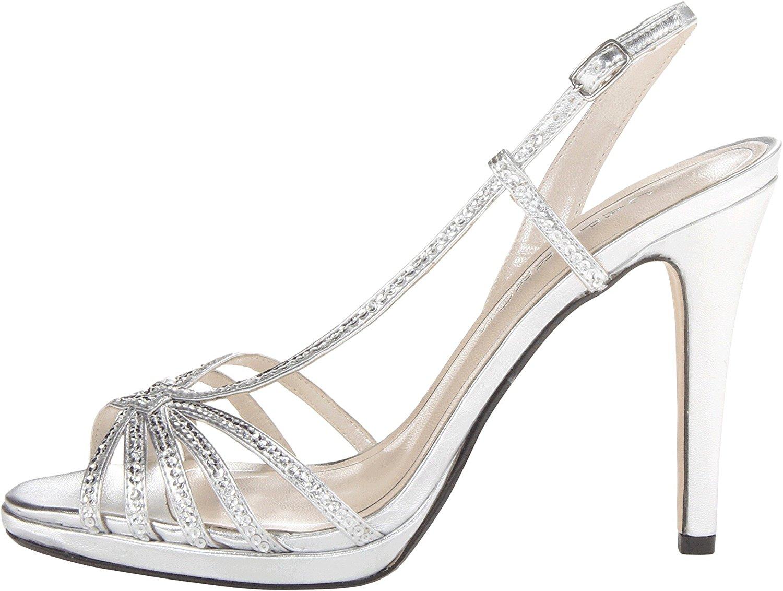 Caparros Womens Kathleen Open Toe Bridal Strappy Silver Metallic Size 95