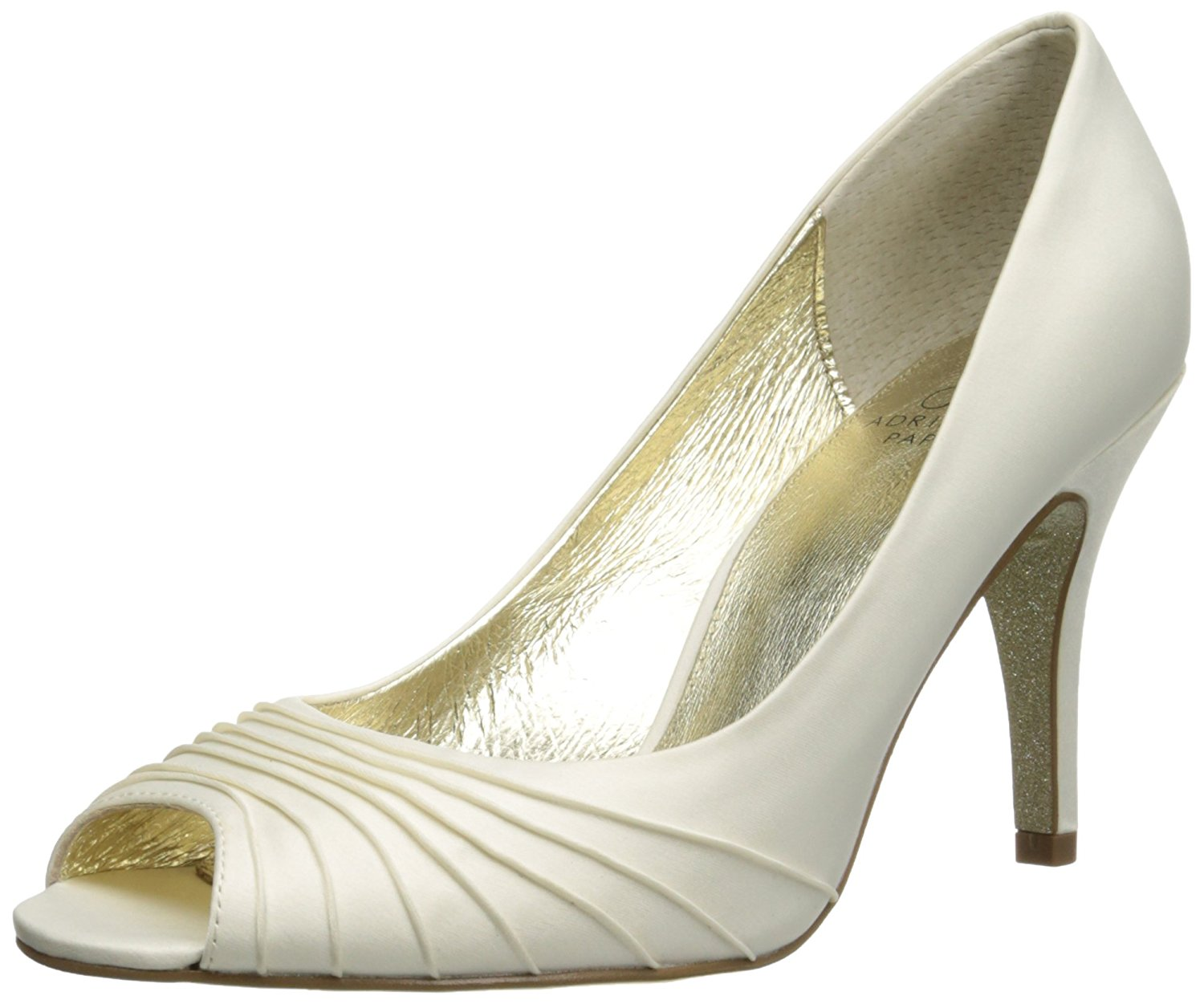 Adrianna Papell Womens Farrel Silk Peep Toe Classic Pumps Ivory Satin Size 5.0