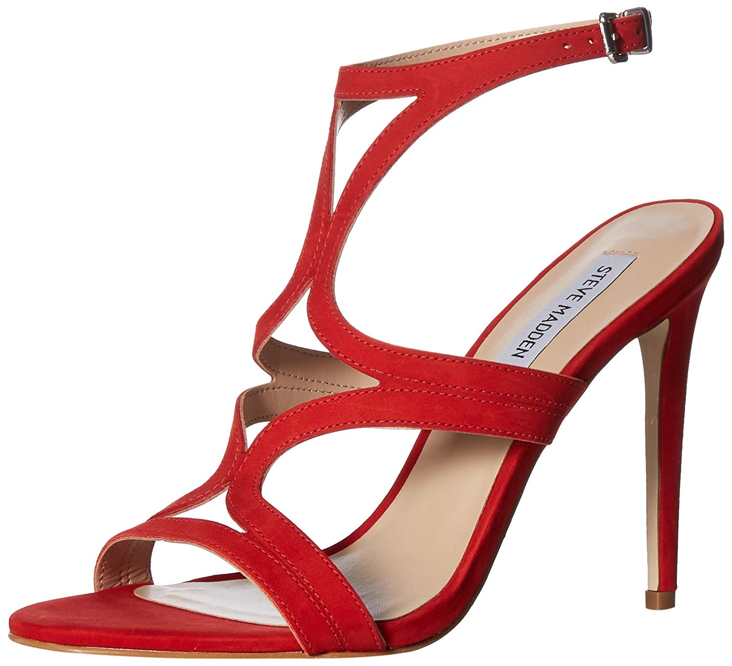 080e1c96320 Details about Steve Madden Womens Sidney Leather Open Toe Casual Strappy,  Red Nubuck, Size 8.0