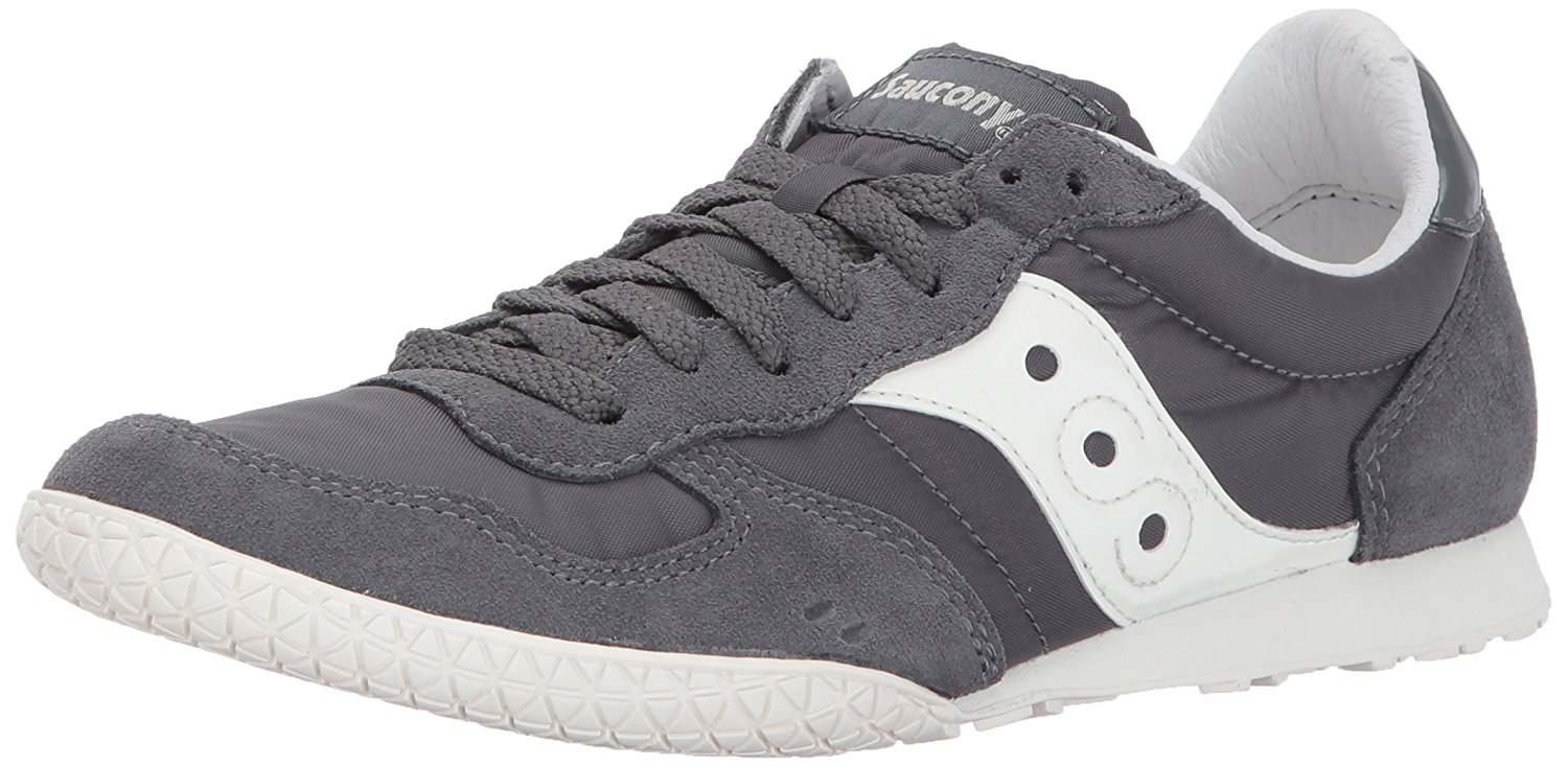 Saucony Womens Bullet Low Top Lace Up Fashion Sneakers Charcoal Cream Size 9.0