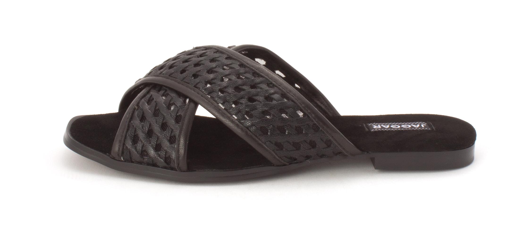 6e9ba5745 JAGGAR Womens Crossrd Flat Leather Open Toe Casual Slide Sandals